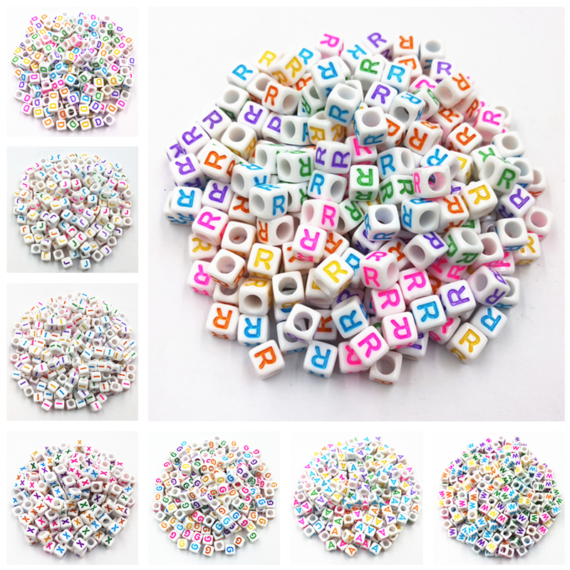 100 Pcs 6mm Mixed Acrylic Cube 26 Letters/Alphabet Colorful Beads DIY Jewelry Making Wholesale Abalorios