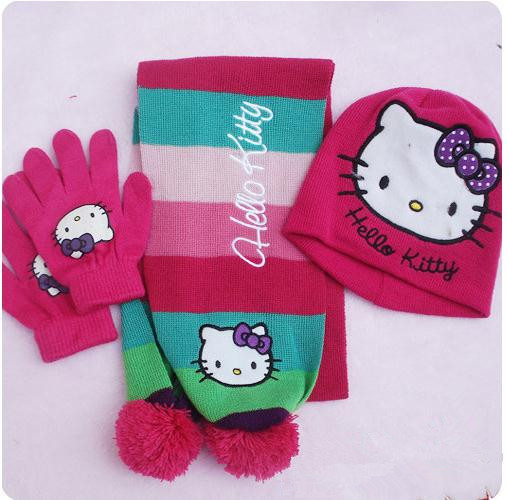 Hello Kitty Cartoon Kids Knitting Hat+Scarf+Gloves Set For Childern Christmas Gift For Girls And Boys Baby Cap Set 3pcs/set(China (Mainland))