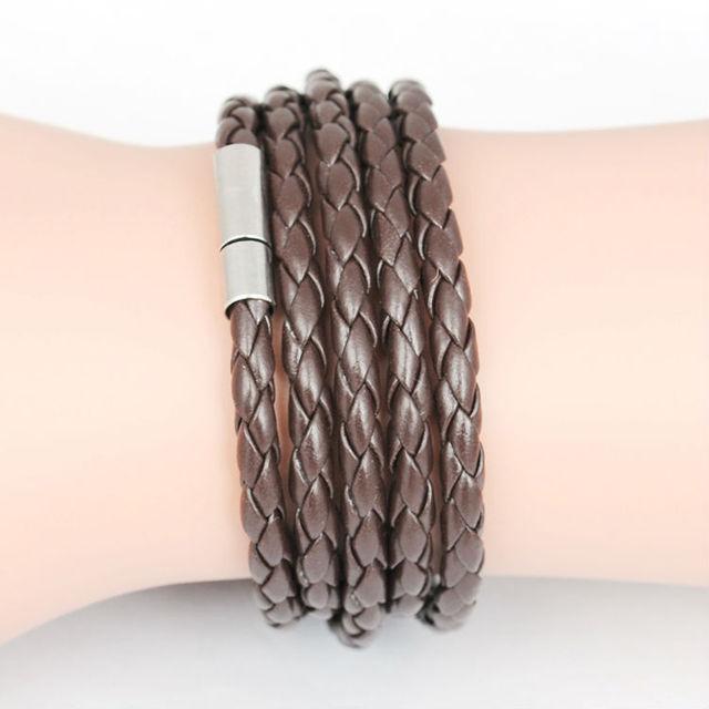 5 слоя кожа браслеты для мужчины женщины кожа мужчины ювелирные изделия Pulseira ...