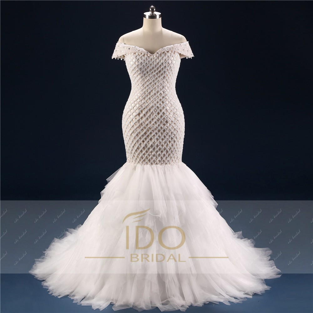 100% Real Photo Africa Luxury Off the Shoulder 2017 Mermaid Wedding Dresses with Crystal Tulle Bridal Gown Vestido de Festa RW1 3