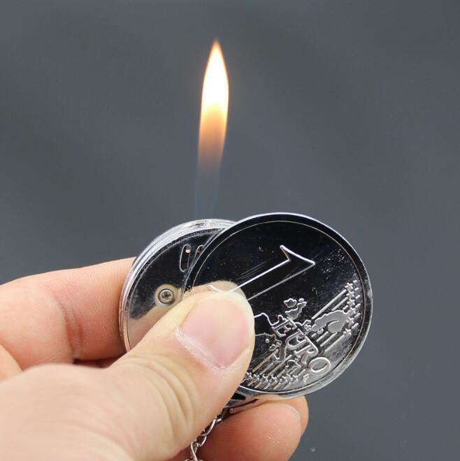 Metal Portable Coin Shape Butane Gas Cigarette Lighter With Keychain(China (Mainland))