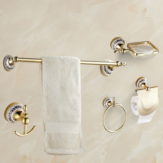 Brilliant Aluminum Alloy Bathroom Accessories Gold Finish Toilet Wall Mount