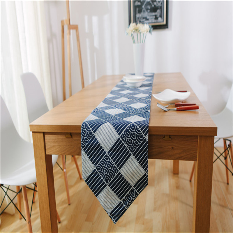 Blue and white wave table runner 30*200cm 30*220cm grid cotton linen blending table runner cloth for home hotel decor textile(China (Mainland))