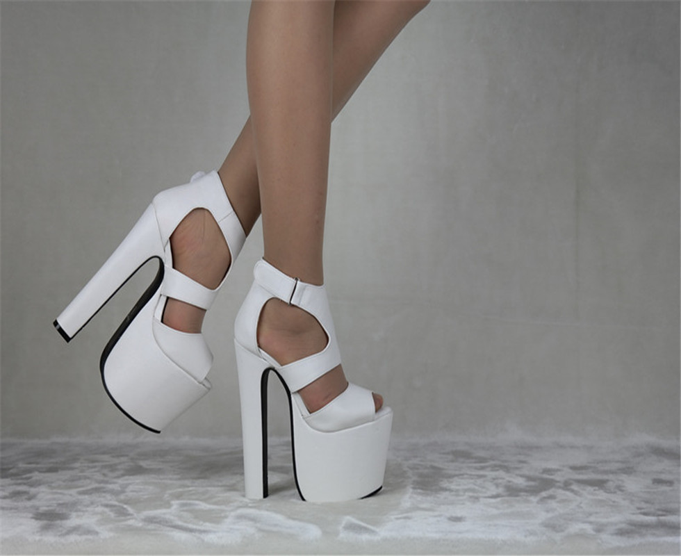 2016 Summer Style Ladies Black High Heeled Shoes 17cm Open Toe Sandals Fashion Women's