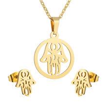 יוקרה זהב צבע נשים אינסופי ינשוף אהבת לב פטימה יד שרשרת עגילי נירוסטה כלה חתונה תכשיטי סטים(China)