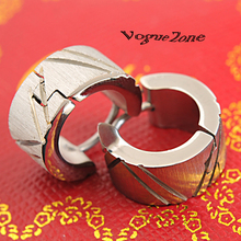 Free Shipping Fashion Jewelry Stainless Titanium Steel 7MM Silver Slippy Cirle Simple Print Men Hoop Earrings Accessorise BE011(China (Mainland))