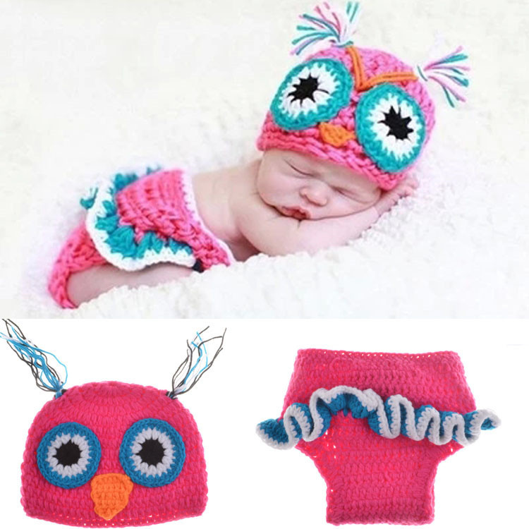 2015 New Deep Pink Owl Cosplay Costume Hat + short Newborn Photography Prop Hats Caps Handmade Infant Baby Knit Costume Crochet(China (Mainland))
