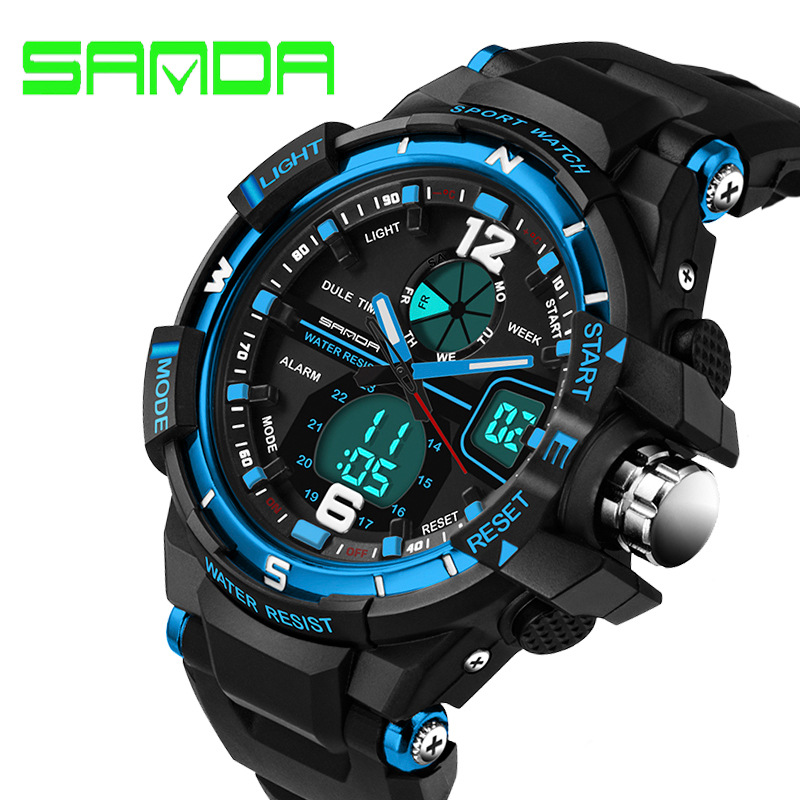 2016waterproof 50m diving Silicone watch Led Electronic Sport Watches men watch luxury brand clock Military Multifunction Watch(China (Mainland))