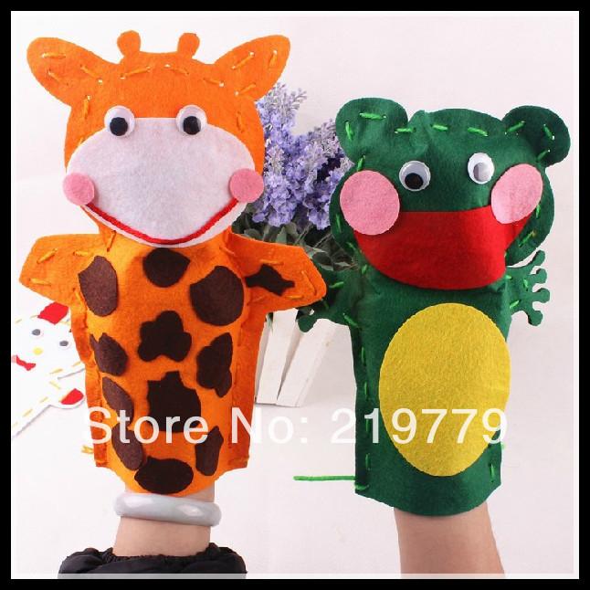 5pcs/lot Kids DIY Cartoon Animal Handmade Cloth Hand Puppet sticker dolls Story Telling handcraft material Kits Children(China (Mainland))
