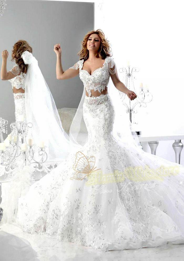 Vestido de noiva sereia 2015 luxury white lace mermaid for Two piece wedding dress