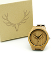 Fashion Bamboo Wooden Watch Men Deer Head Design With Genuine Cowhide Leather Band Casual Watches Men