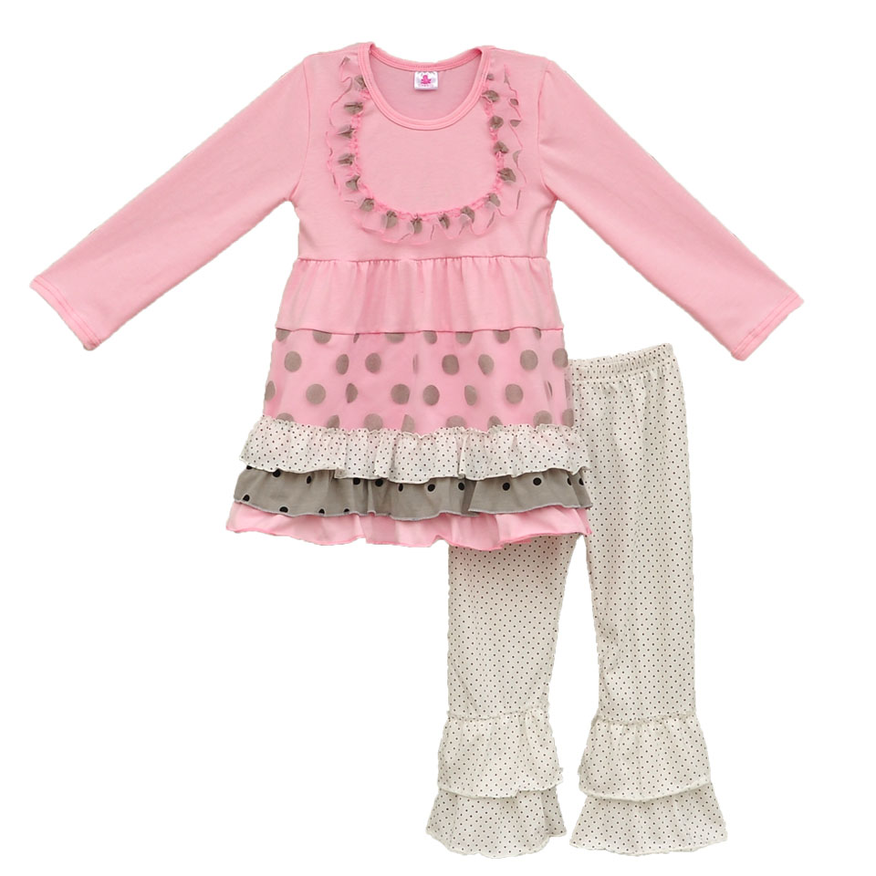Persnickety Remake Children Pink Spring Outfits Polka Dots Swing Top Ruffle Pants Boutique Girls Lovely Clothing Sets CO061<br><br>Aliexpress