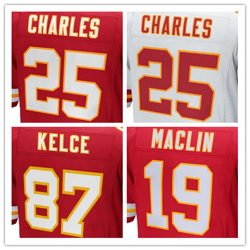 Best quality jersey,Men's 11 Alex Smith 19 Jeremy Maclin 25 Jamaal Charles 87 Travis Kelce jersey,White and Red,Size 40-56(China (Mainland))