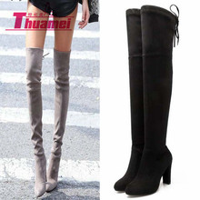 Slim Boots Sexy over the knee high Suede women snow boots women's fashion winter thigh high boots shoes woman #Y1159863F(China (Mainland))