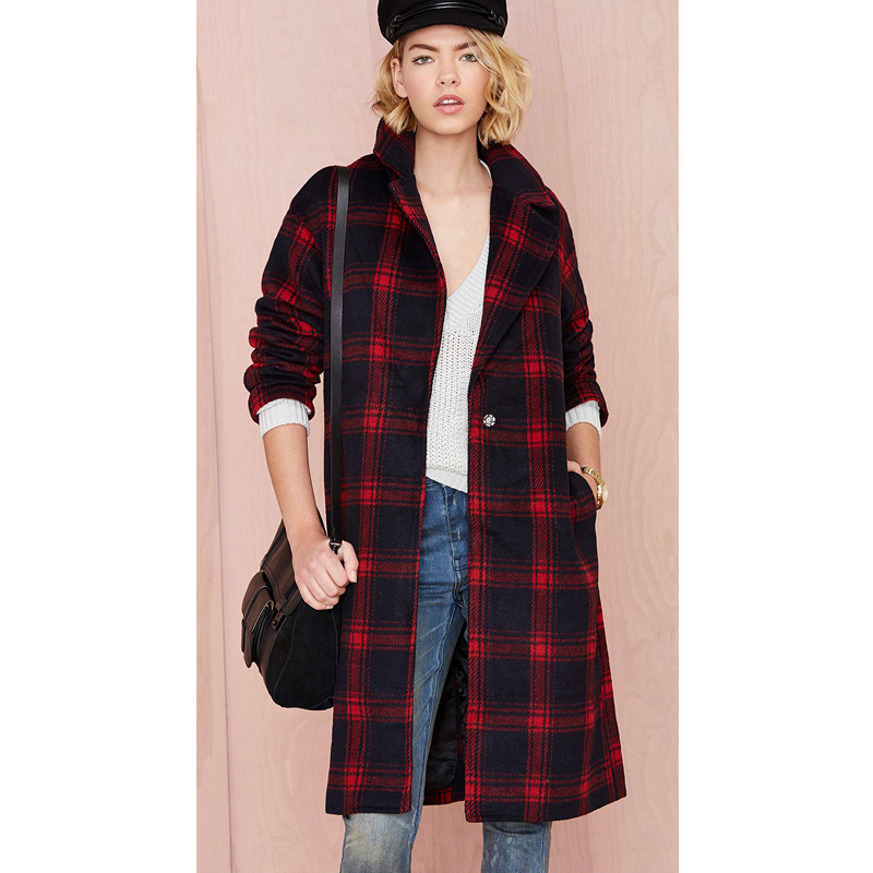 2016 New Design Big Turn Down Collar Plaid Winter Casual Pockets Womens Fashion Single Button Long Sleeve Coat Wool &amp; Blends Одежда и ак�е��уары<br><br><br>Aliexpress