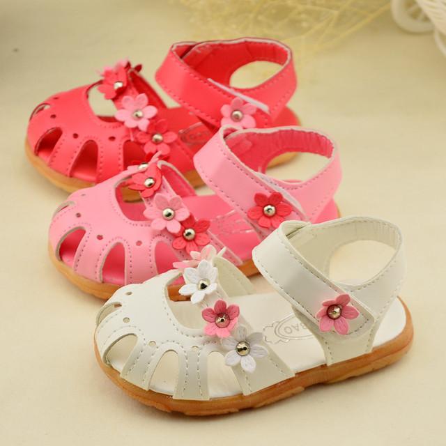 2016 лето для детей обувь девушки сандалии цветы сандалии non-slip кожаные ботинки кроссовки детская обувь девушки белый розовый красный