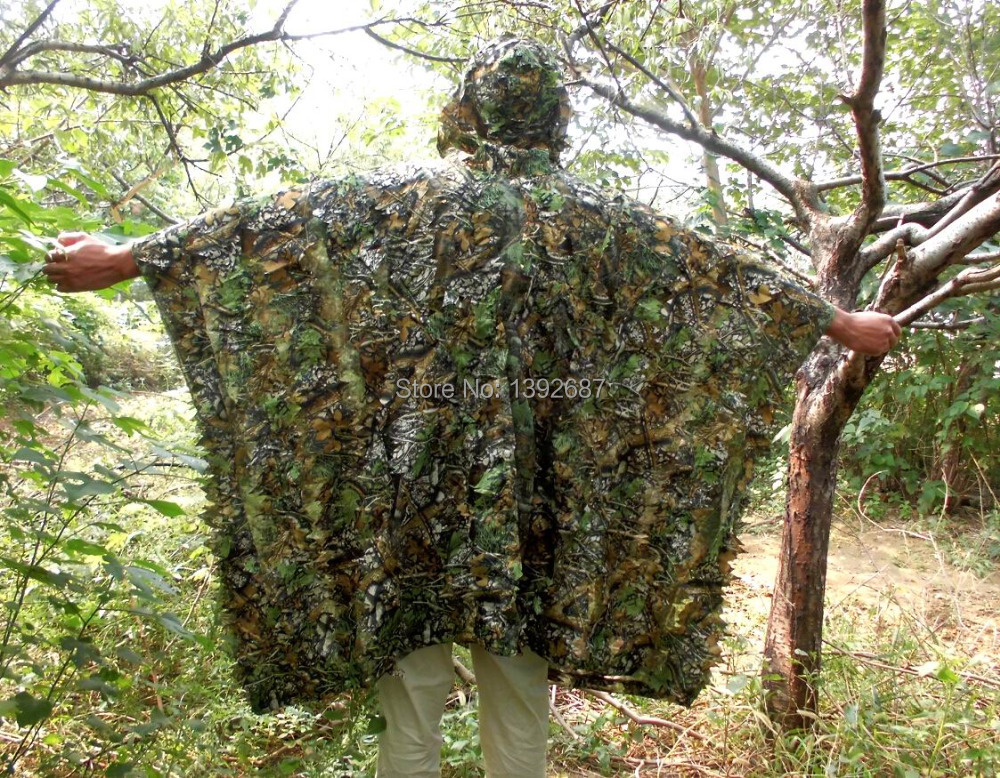 Camo 3D Leaf Yowie Ghillie Breathable Open Poncho Type Camouflage Birdwatching Poncho Sniper Suit<br><br>Aliexpress