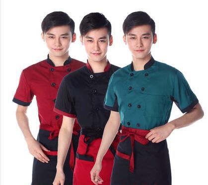 Chef Uniform Wear Short Sleeved Summer Hotel Restaurant Kitchen Wear for Men and Women Chef Jacket Ventilation Black White Red(China (Mainland))