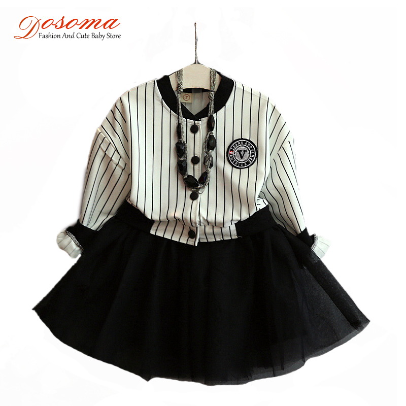 2016 girls princess dress black & white striped long-sleeved dress lace style baby girls baseball shirt dresses for girls 2-7Y(China (Mainland))