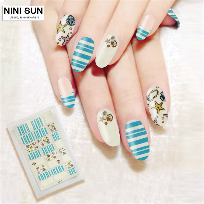 Fashion Starfish Design Nails Stickers Full Cover Nail Polish Sticker Manicure 3D Nail Wraps Decals Office Lady Beauty Finger(China (Mainland))