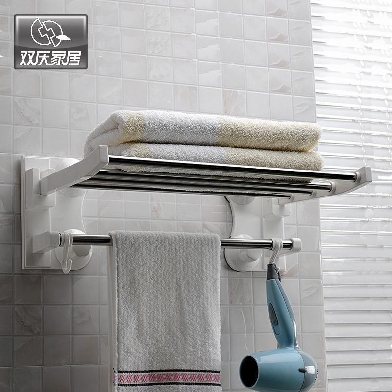60cm Width Large Stainless Steel Suction Cup Towel rack Towel Bars with Hook;Double Towel Bar 60 cm;Bathroom accessories;SQ-1906(China (Mainland))