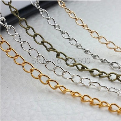 3.5*5.5mm 10Meter/lot Rhodium Gold Silver KC Gold Bronze Necklace Chains Bulk Iron Jewelry Chain Lots Y720(China (Mainland))