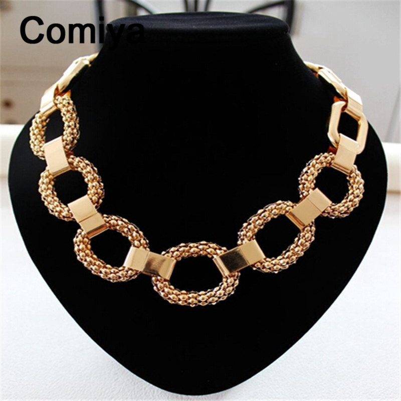 Brands thick links boho punk gold colors alloy anime chain ethnic jewelry fashion maxi pendant necklace collare perlas necklaces(China (Mainland))