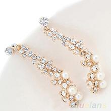 New Fashion Elegant Luxury Pearl Rhinestone Dangle Chandelier Earrings Stud 09EN(China (Mainland))