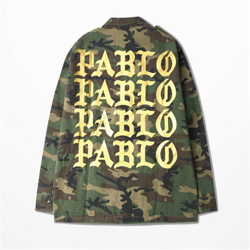 I FEEL LIKE PABLO Kanye camouflage jacket Men women baseball jacekt military coat men outdoors jacket hiphop streetwear(China (Mainland))