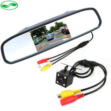 HD Video Parking Monitors, LED Night Vision Auto Reverse Backup CCD Vehicle Camera With 4.3 inch Car Rear View Mirror Monitor(China (Mainland))