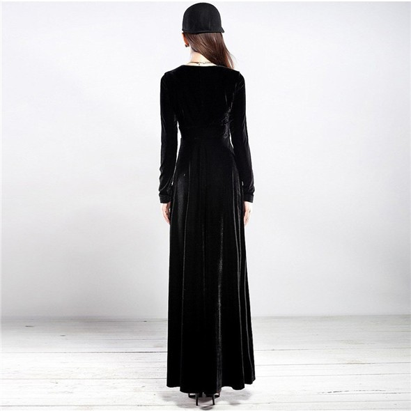 Sexy Elegant Velvet Warm Maxi Dress Women Long Sleeve Deep V  Lady Dress New 2015 Freeshipping