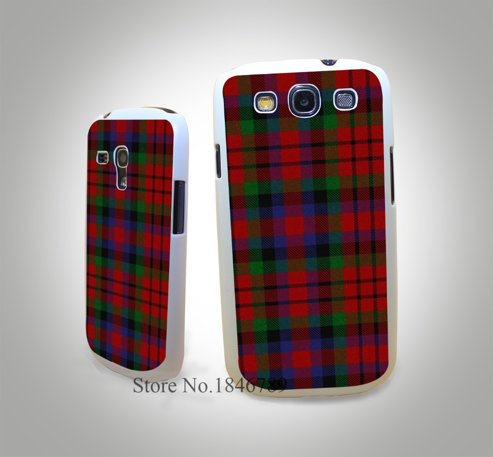 RED BLUE font b TARTAN b font SCARF FASHION White Hard Case Cover for Samsung Galaxy