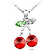 JS N061 Red Cherry Necklace Austrian Crystal Jewelery Small Pendant Necklace 2014 Colares Women Accessories Christmas Gifts(China (Mainland))