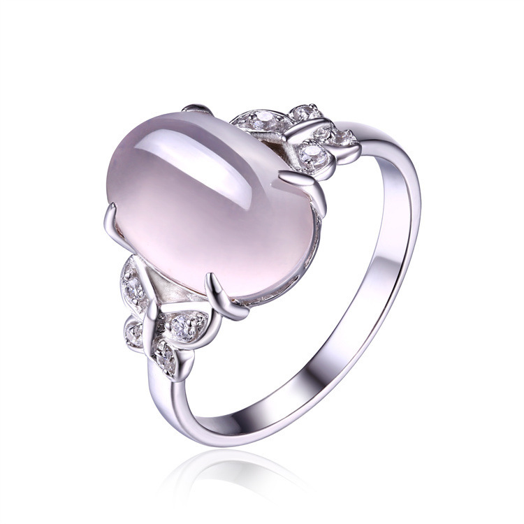 Natural crystal powder delicate butterfly S925 pure silver ring Elegant fashion wholesale womens ring<br><br>Aliexpress