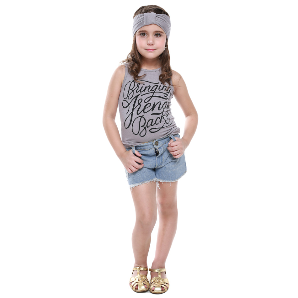 2016 Brand Summer Girls Clothes Sets Tank Tops T-Shirt +Short Pants Headband Sport Suits Casual Kids Clothing Outfit - Lovely Babies' Store store