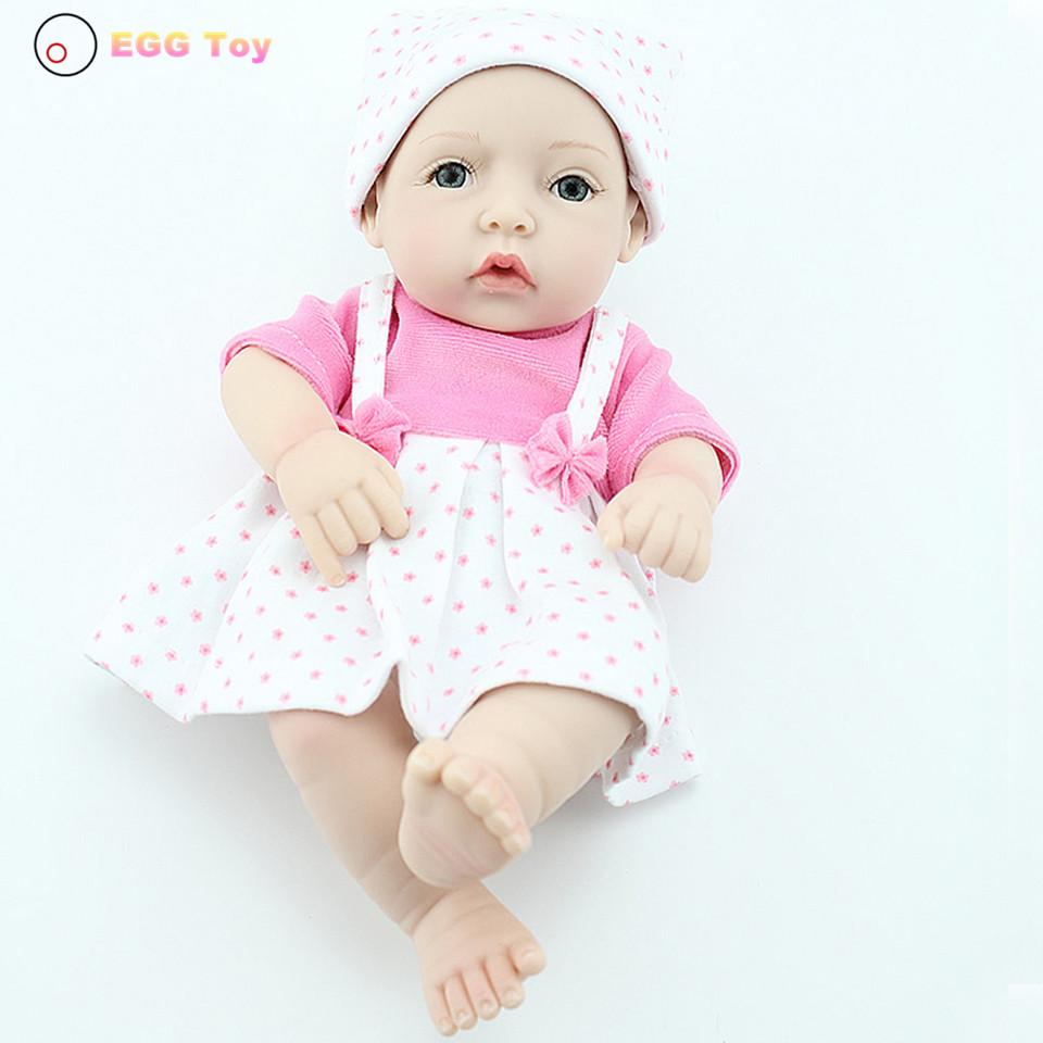 Фотография toys Full body Silicone Reborn Doll Toy bath Baby 28cm Lifelike Baby Girls gift  Doll Educational toy Play House Reborn Doll