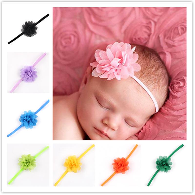 Newborn Baby Girls Satin Ribbon Flower Headbands Photography Props Infant Baby Headband children Accessories(China (Mainland))