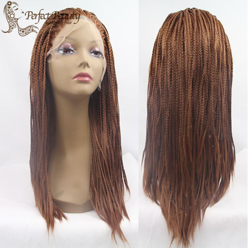 Micro Braided Wig lace front Fashion Brown Micro Braid Wig Medium Hairstyle Cheap Good Synthetic African American Braided Wigs<br><br>Aliexpress