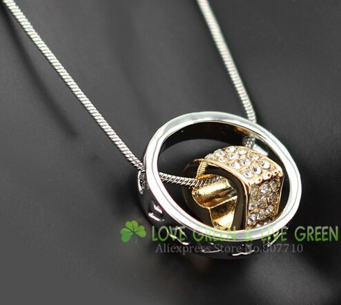 Free Shipping promotion top quality Czech rhinestones 18 k gold Plated circle round Heart pendant Necklace fashion jewelry 4113(China (Mainland))
