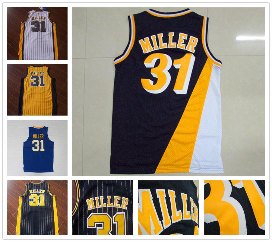 Men's Basketball Jersey blue black yellow #31 Reggie Miller Jerseys Mesh Embroidery logo Throwback sport shirt Accept custom(China (Mainland))