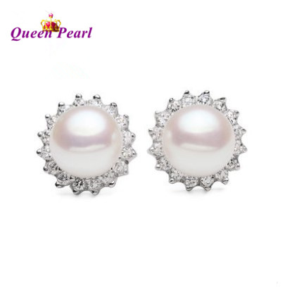 10-11 Super Big Pearl Size, Real Freshwater Pearl Earrings 925 Silver Stud Earrings Fashion Girls' Female Lady's Jewelry(China (Mainland))