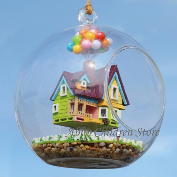 DIY Glass House Paradise Falls UP Flying Cabin House Model With Lamp Miniature Furniture Handmade Wooden Toy For Kids Child<br><br>Aliexpress