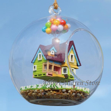 DIY Glass House Paradise Falls UP Flying Cabin House Model With Lamp Miniature Furniture Handmade Wooden Toy For Kids Child(China (Mainland))