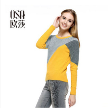 OSA 2014 New Design Fashion Women Pullovers O-Neck Long Sleeve Patchwork Minimalist Temperament Casual Sweaters  SE401007(China (Mainland))