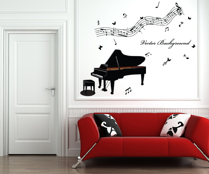 Free Shipping Home Decor Music Wall Paper Wall Stickers Piano Note Wallpaper Child Real