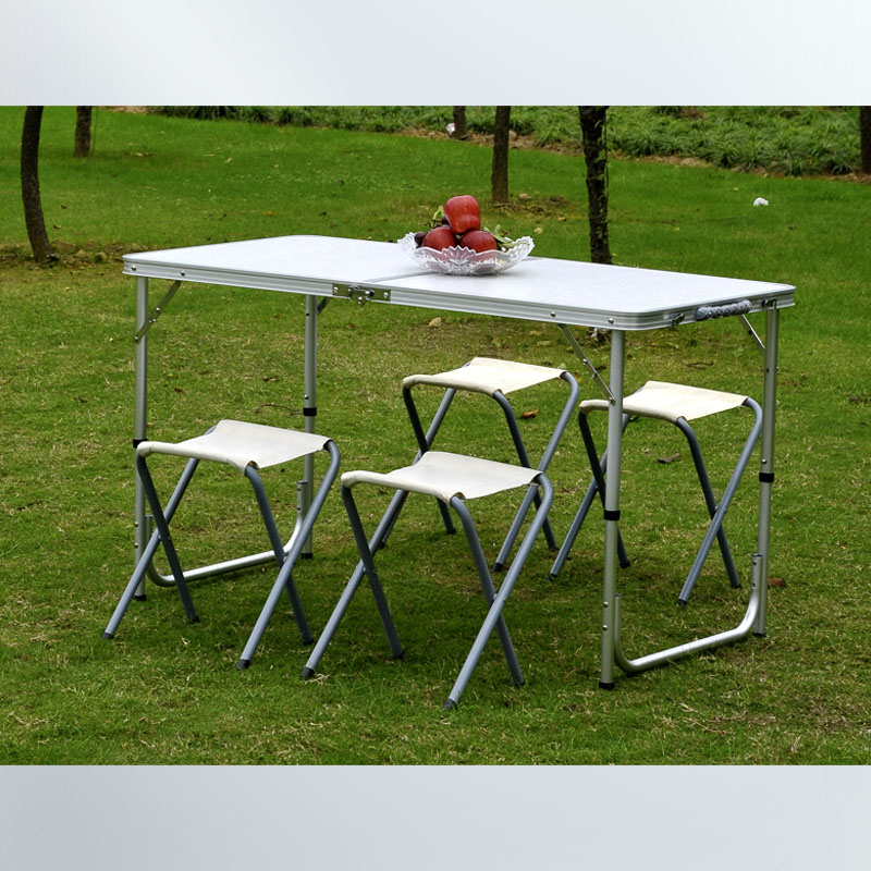Outdoor aluminum alloy lightweight folding tables and chairs may suit two adjustable height Making a picnic barbecue(China (Mainland))