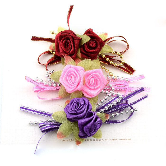 Two Ribbon Rose Flower DIY Hairclip Headbands Accessories The Bride And Groom Corsage Wedding Decoration Accessories HTT399(China (Mainland))