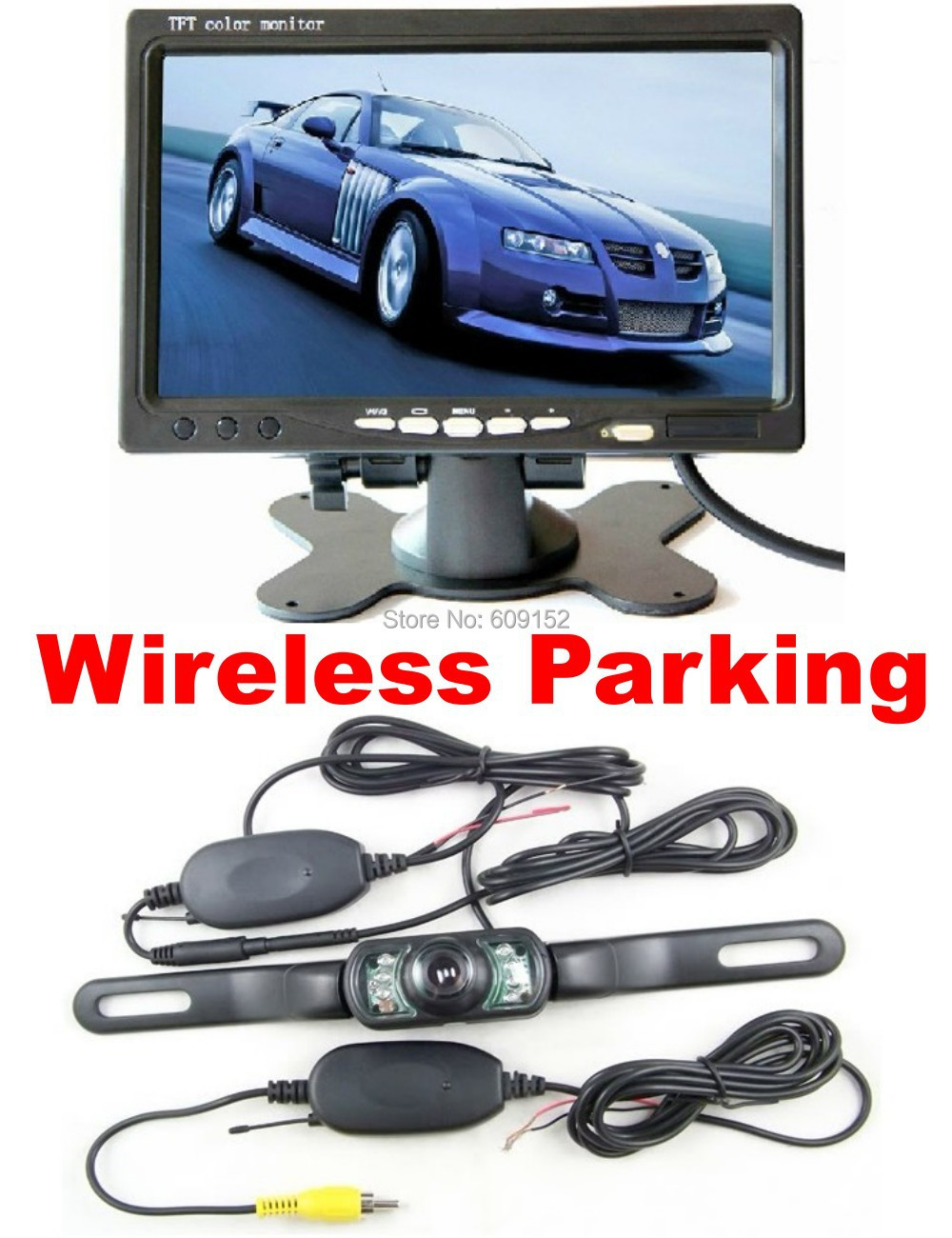 """1set 7"""" tft Monitor wireless rear view backup video parking reverse camera kit for Car Autos safety reversing(China (Mainland))"""