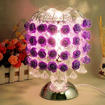 Quality Modern Fashion Rose Flower Lampshade Bedroom Beside Decoration Table/Desk Night Lights Lamp Indoor Lighting Fixtures(China (Mainland))