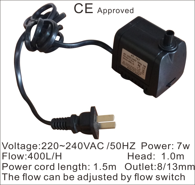 CE Approved Brushless submersible pump AT-707, 220VAC 50HZ use for household small appliances,solar pumps,circulate fish jar,(China (Mainland))